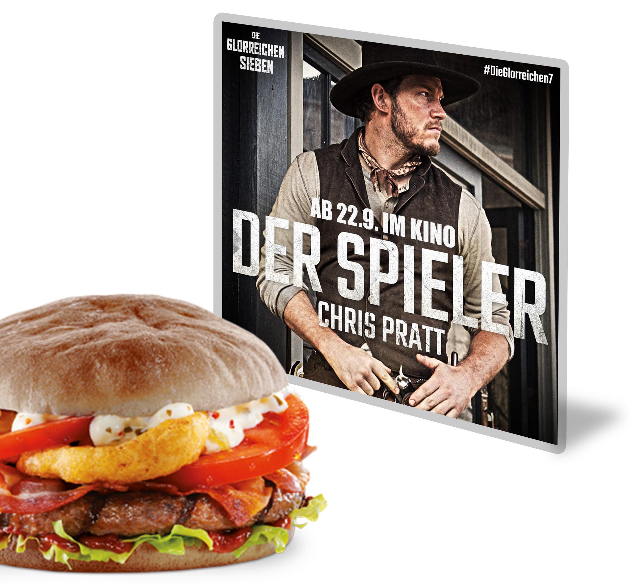 Die glorreichen 7 burgerme Onion Rings Burger